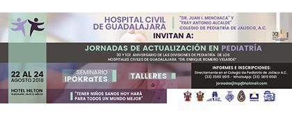 Cartel informativo sobre las Jornadas de Actualización en Pediatría, Del 22 al 24 de agosto en el hotel Hilton Guadalajara