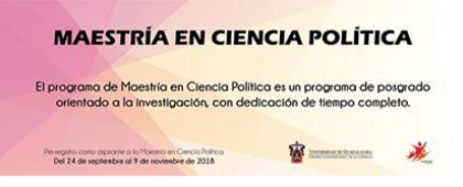 Cartel informativo sobre la Maestría en Ciencia Política, Periodo de prerregistro: Del 24 de septiembre al 9 de noviembre