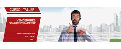 """Cartel informativo del Curso-Taller """"Vendedores: Granjeros vs Cazadores. A realizarse el 11 de mayo de 9:00 a 13:00 horas, en el CUCEA"""