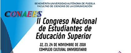 Cartel informativo sobre el II Congreso Nacional de Estudiantes de Educación Superior, Del 22 al 24 de noviembre en el Complejo Cultural Universitario