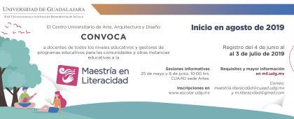 Cartel informativo sobre la Maestría en Literacidad, en el CUAAD sede Artes