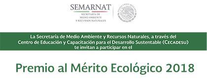 Cartel del Premio al Mérito Ecológico 2018. Fecha límite de registro de candidaturas: 29 de marzo.