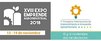 Cartel informativo sobre el  XVIII Expo Emprende Agroindustrial 2018, el 13 y 14 de noviembre, CUAltos