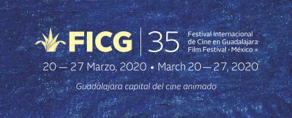 Cartel informativo de la Convocatoria FICG35, a llevarse a cabo del 20 al 27 de marzo de 2020, Fecha límite de inscripciones: 8 de noviembre.