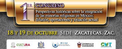 Cartel informativo sobre el 1er Congreso Perspectivas históricas sobre la integración de las minorías religiosas en México; difusión, aportaciones y situación actual