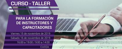 Identidad gráfica para anunciar el Curso taller para la formación de instructores y capacitadores