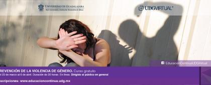 Curso en línea gratuito: Prevención de la violencia de género a llevarse a cabo del 23 de marzo al 6 de abril.