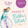 Cartel informativo sobre el Festival Literario ¡Vivamos la fiesta de las letras! A realizarse el 22 de abril.