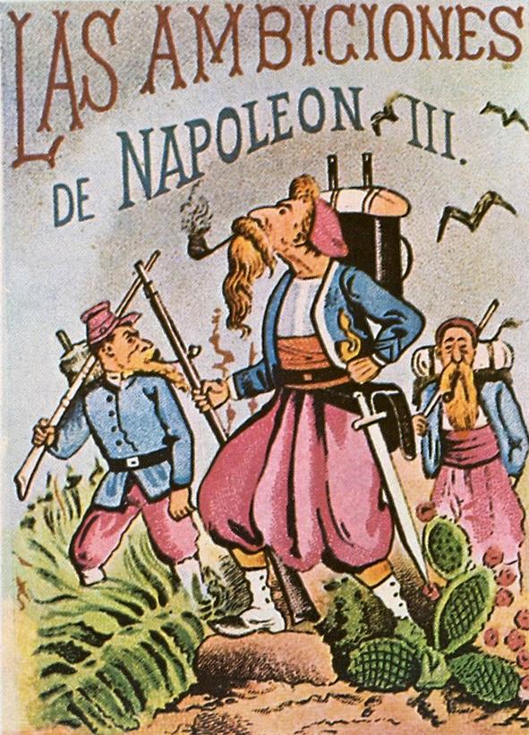Las ambiciones de napoleon III - Los suavos en Mexico - Grabado satírico de Posada