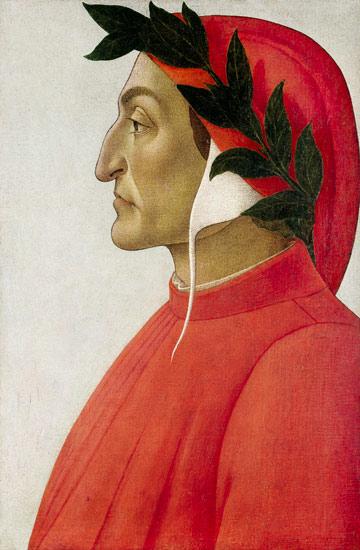 Retrato de Dante Alighieri pintado por Sandro Boticelli
