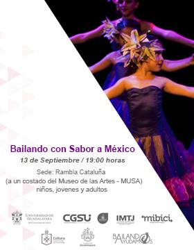 Cartel informativo sobre el Jueves de activación de Rambla Cataluña: Bailando con sabor a México, el 13 de septiembre, a las 19:00 h. en la Rambla Cataluña