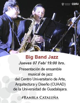 Cartel informativo sobre la Presentación de Big Band Jazz, el 7 de febrero, a las 19:00 h. en la Rambla Cataluña