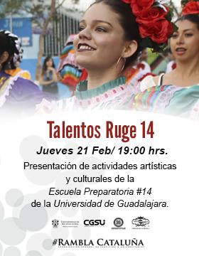 Cartel informativo sobre Talentos Ruge 14, el 21 de febrero, 19:00 h. en la  Rambla Cataluña