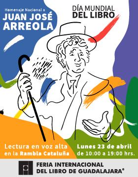 Cartel alusivo al evento de Lectura en voz alta en la Rambla Cataluña en el marco del Día Mundial del Libro, a celebrarse el lunes 23 de abril de 10:00 a 19:00 horas.